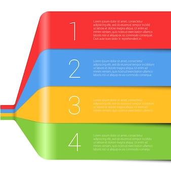 Modello di infographics di vettore del nastro arcobaleno passo dopo passo