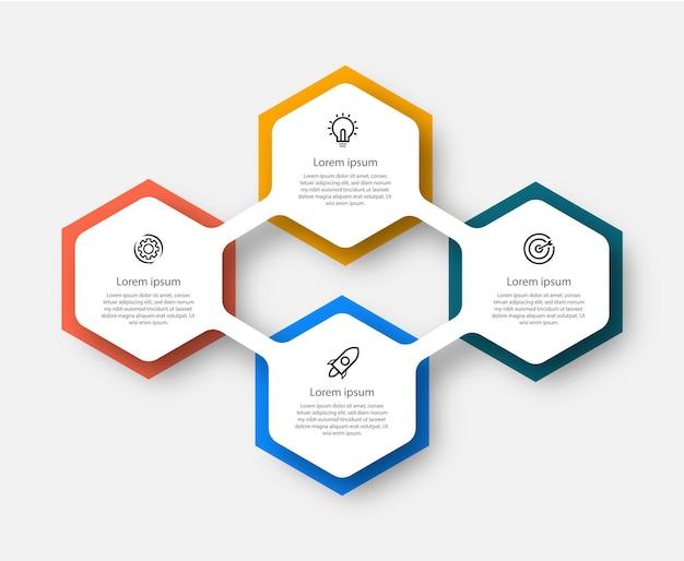 Modello di presentazione di progettazione infografica passo con 4 opzioni
