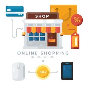 Passo per il concetto di shopping online design piatto. concetto di business e-commerce, concetto moderno per infografica, banner web, dati. illustrazione creativa di vettore