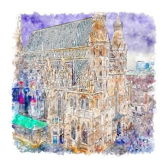 Stephansplatz vienna acquerello schizzo disegnato a mano illustrazione