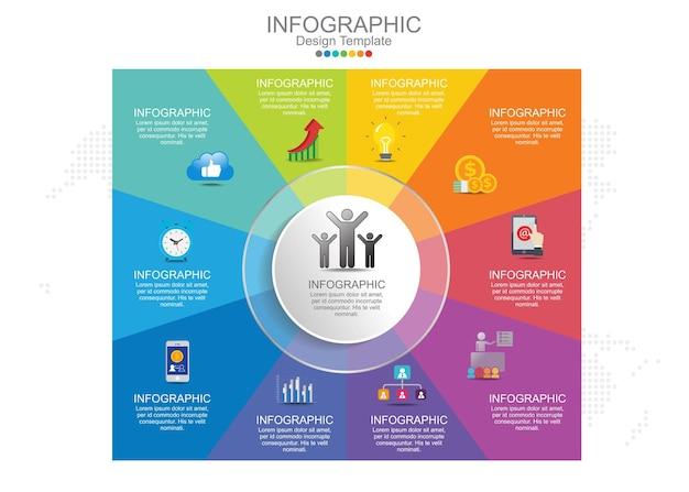 Passi elementi del grafico di infographics di affari.