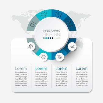 Passaggi del modello di infografica cerchio