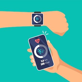 Passi, esecuzione del tracker sul display dell'orologio intelligente pedometro attività giornaliera, monitoraggio dei trasferimenti di dati sul telefono.