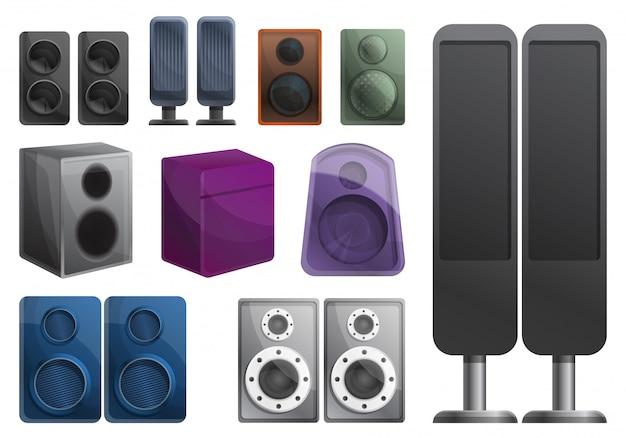 Set di sistemi audio stereo, in stile cartone animato