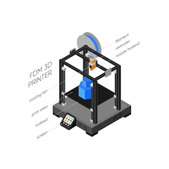 Illustrazione isometrica della stampante 3d di stereolitografia