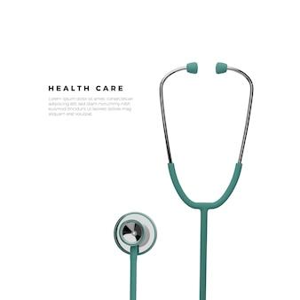 Lo stetoscopio in 3d rende l'illustrazione