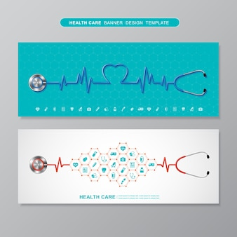 Icone piane a forma di cuore di battito cardiaco e stetoscopio in medicina, croce, assistenza sanitaria