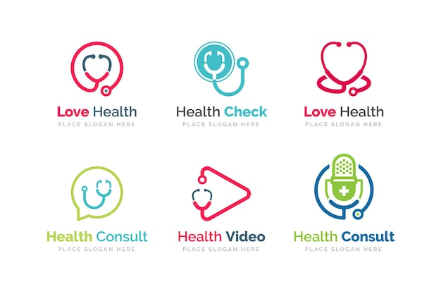 Illustrazione del design dell'icona dello stetoscopio. modello di logo di salute e medicina.