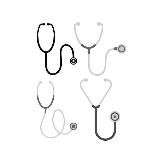 Modello di set di icone dello stetoscopio