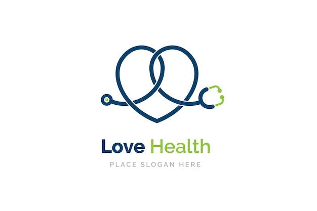 Icona dello stetoscopio a forma di cuore. simbolo di salute e medicina.