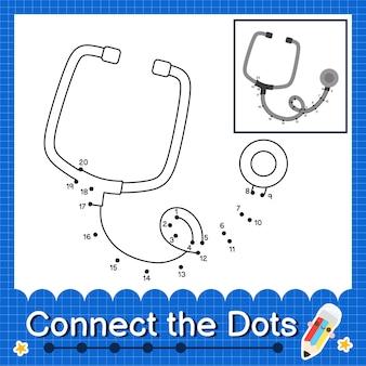 Stetoscopio i bambini collegano il foglio di lavoro dei punti per i bambini che contano i numeri da 1 a 20