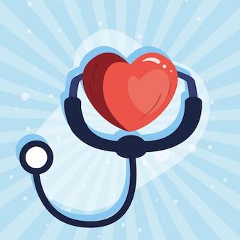 Strumento medico stetoscopio con cuore