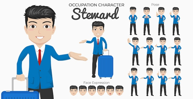 Set di caratteri dell'amministratore con varietà di pose ed espressioni del viso