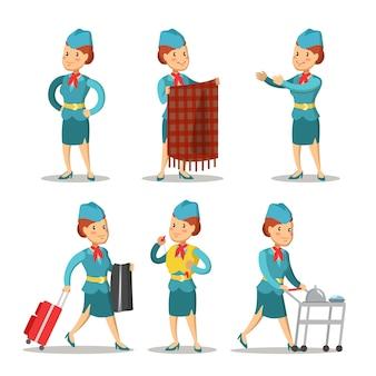 Fumetto di hostess in uniforme. hostess di volo.