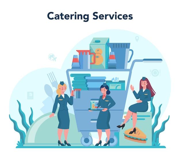 Concetto di hostess. belle assistenti di volo femminili aiutano il passeggero