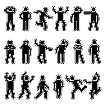 Figure stilizzate. l'azione del pittogramma di sagome umane pone diverse espressioni di dialogo in piedi e in esecuzione di simboli vettoriali dell'uomo. illustrazione silhouette bastone umano, postura uomo