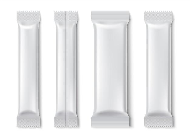 Pacchetto stick. mockup di pacchetto bustina vuota per caffè e tè isolato su bianco, confezione di prodotti alimentari di carta