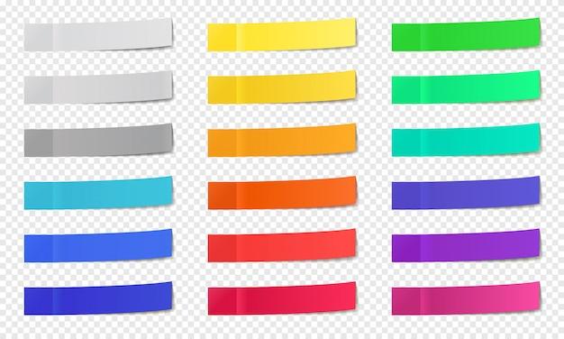 Attacca appunti di carta. post note nastro adesivo, post note colorate, fogli di appunti post-it, set di icone strette bastoncini per ufficio. nastro da ufficio memo, pagina adesiva vuota