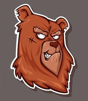 Adesivo di un orso arrabbiato in stile cartone animato.