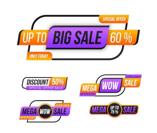 Adesivo distintivo coupon negozio grande vendita tag offerta speciale sconto miglior prezzo mega vendita banner