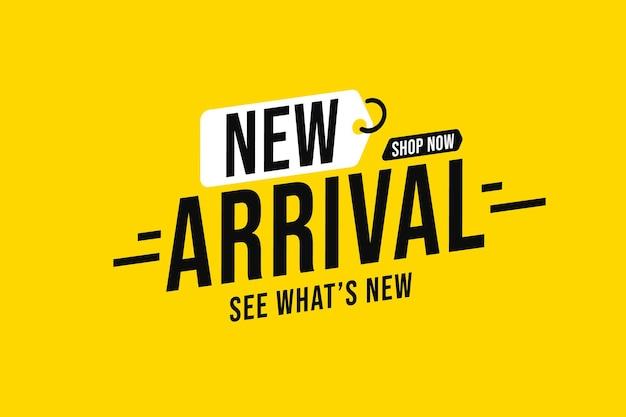 Modello di banner adesivo con messaggio di annuncio del nuovo arrivo