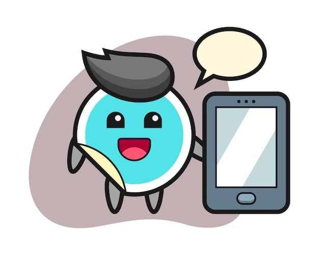 Cartone animato adesivo che tiene uno smartphone