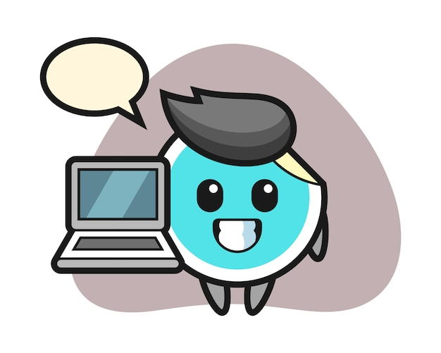 Cartone animato adesivo con un computer portatile