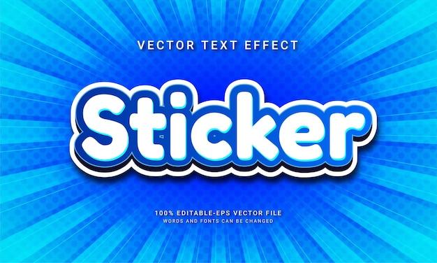 Effetto di testo modificabile adesivo con colore blu