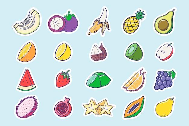 Collezione di frutti dell'autoadesivo