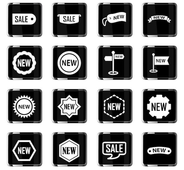 Icone vettoriali di adesivi ed etichette per il design dell'interfaccia utente