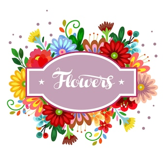 Etichetta adesiva con fiore carino