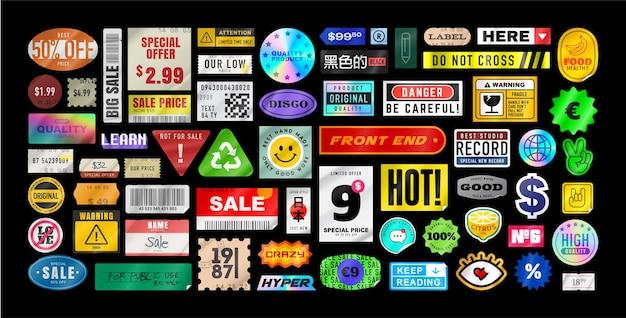 Pacchetto di adesivi. adesivi prezzo. adesivi di carta sbucciata. cartellino del prezzo. isolato su sfondo nero