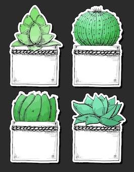 Confezione di adesivi di piante grasse in vaso. acquerello stilizzato. illustrazione vettoriale.