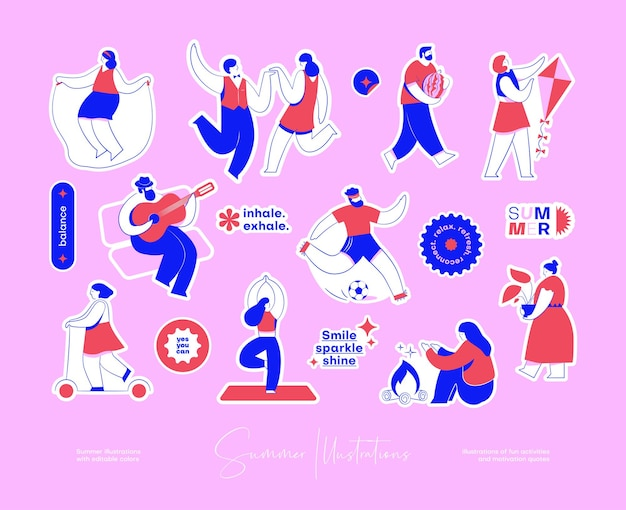 Pacchetto di adesivi con illustrazioni colorate di attività divertenti e citazioni motivazionali