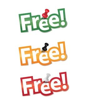 Set adesivo gratuito fissato da una puntina da disegno.
