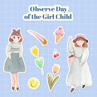 Set di adesivi per la giornata internazionale della bambina in stile acquerello