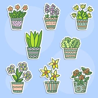 Adesivo impostato con graziosi fiori in vaso al coperto doodle