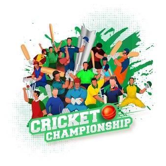 Testo di campionato di cricket stile adesivo con palla rossa 3d, squadra di giocatori di cricket senza volto e pennellata verde su sfondo bianco mezzitoni.