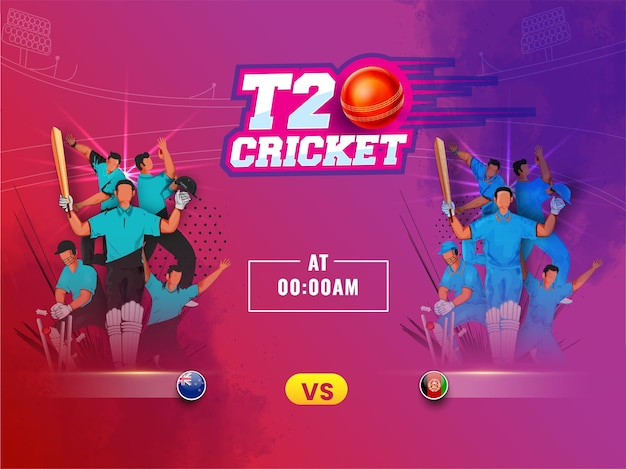 Testo di cricket stile t20 adesivo con palla realistica e squadra partecipante nuova zelanda vs afghanistan su sfondo astratto.