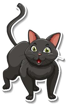 Un modello di adesivo del personaggio dei cartoni animati di gatto