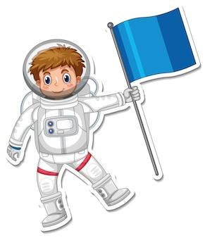 Un modello di adesivo con un personaggio dei cartoni animati astronauta isolato