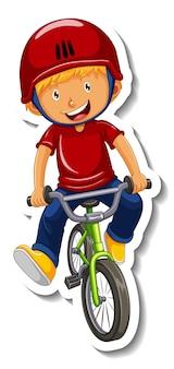 Il modello dell'autoadesivo con un ragazzo guida un personaggio dei cartoni animati della bicicletta isolato