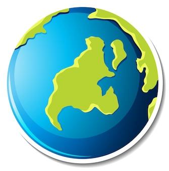 Modello di adesivo con pianeta terra isolato