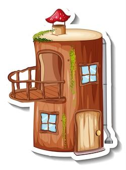 Un modello di adesivo con casa di tronchi fantasy isolata
