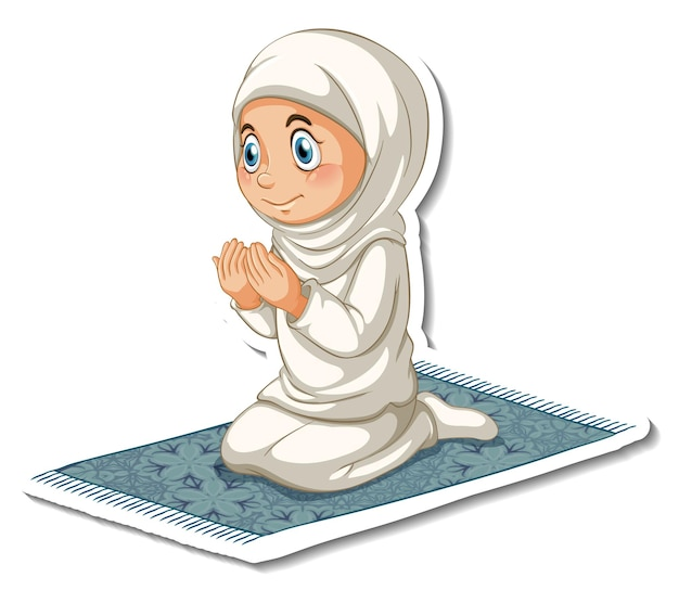 Un modello di adesivo con una ragazza musulmana seduta e che prega