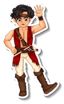 Modello di adesivo con un personaggio dei cartoni animati dell'uomo pirata isolato Vettore Premium