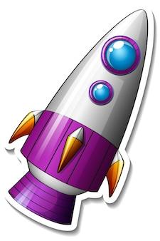 Un modello di adesivo con razzo cartoon isolato