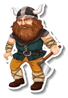 Modello di adesivo con personaggio dei cartoni animati di guerriero vichingo isolato