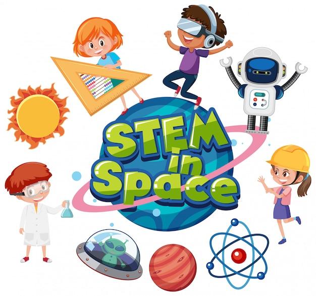 Modello di adesivo per parola stem nello spazio