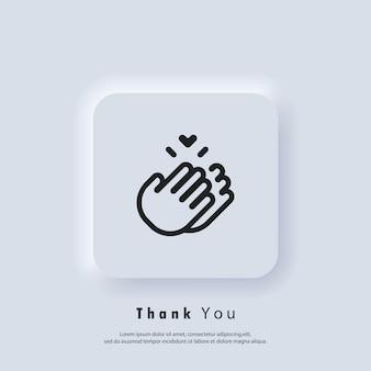 Adesivo grazie. icona delle mani che applaudono. applauso, icona di applausi. vettore. icona dell'interfaccia utente. pulsante web dell'interfaccia utente di neumorphic ui ux bianco.